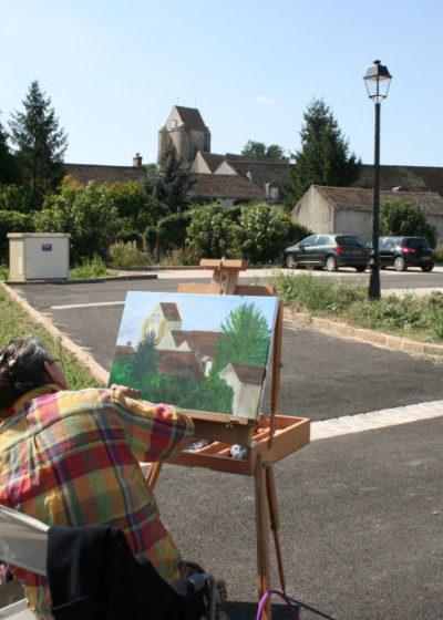 """L'église vue depuis le lotissement du """"Coeur de village"""""""